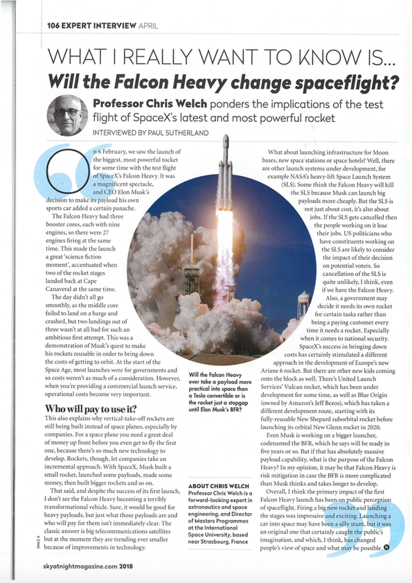 ISU MSS Director, Prof. Chris Welch featured on the back cover of the latest issue of Sky At Night magazine - read more about his view on the implications of the test flight of SpaceX's latest and most powerful rocket.